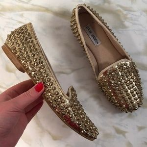 Steve Madden 7.5M Loafers Studlyy Shoes Gold